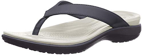crocs Damen Capri V Flip Flop, Blau (navy/pearl white), 39/40 EU