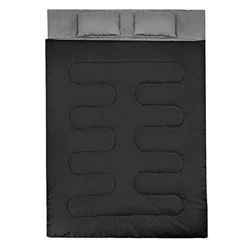 GYMAX 2 in 1 Doppelschlafsack, Deckenschlafsack mit 2 Kissen & Tragetasche, Schlafsack 2 Personen, leichtgewichtig & wasserabweisend, 0°C bis 15°C, für Camping, Wandern, Reisen (Schwarz + Grau)