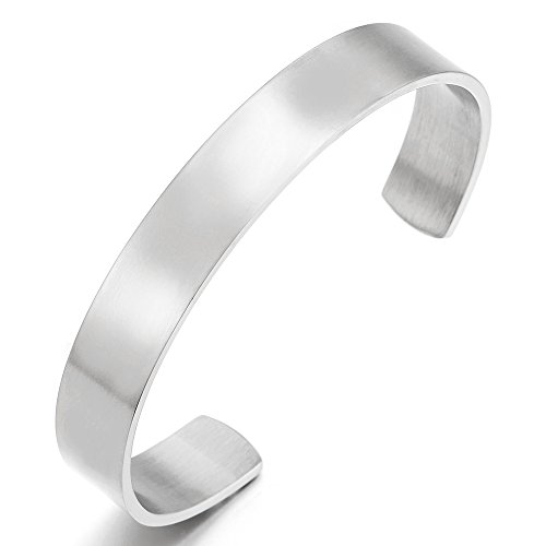 COOLSTEELANDBEYOND 19CM Klassiker Herren Damen Verstellbare Armband Armreif Edelstahl Farbe Silber Satiniert