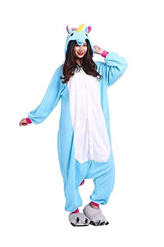 iDattel Pyjama Tieroutfit Tierkostüme Schlafanzug Tier Onesize Sleepsuit mit Kapuze Erwachsene Unisex Jumpsuits Overall Damen Herren Pyjama Fleece, Einhorn, M:161-168cm
