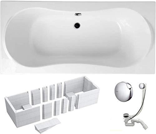 VBChome Badewanne 180x80 cm Acryl SET 3in1 Wannenträger Siphon Wanne Rechteck Weiß Classic Styroporträger Ablaufgarnitur in Chrom Viega Simplex für 2 Personen (180x80)