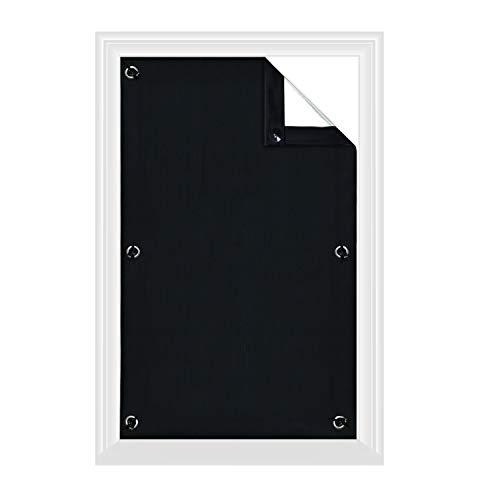 Greatime 100% Lichtundurchlässig Gardinen mit Saugnäpfen Verdunkelungsvorhang, Isolierung für Velux Dachfenster(Schwarz,96x93cm)