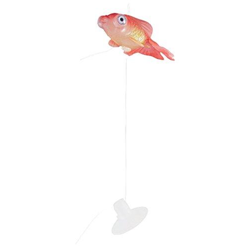 TOOGOO(R) Gummi-Goldfisch Aquarium Kleine Saugnapf Kuenstlich Schwimmende Goldfisch Ornament Rot