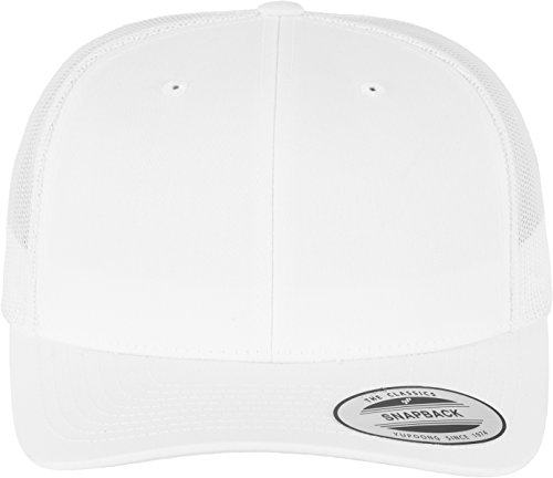 Flexfit Snapback Unisex Baseball-Mütze   Trucker Kappe Mesh Basecap, Weiß (white), Gr. One size