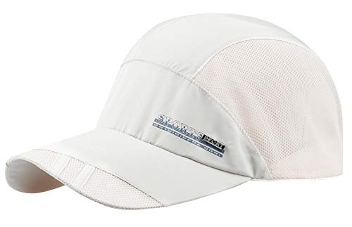 AIEOE Atmungsaktive Kappe Outdoor Kappe Leicht und Schnelltrocknend Basecap Baseball Cap - Weiß
