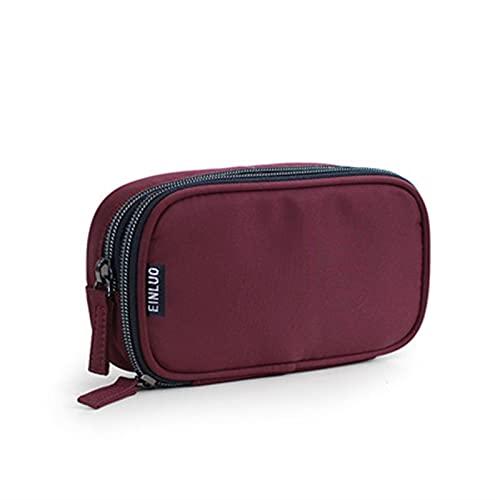 JSBAN Make-up-Tasche Fall stilvoller wasserdichter Kosmetiktasche Reise Organizer Schönheitskoffer-Kultur-Kit für Mini-Bleistift-Gehäuse WC-Tasche (Color : Wine red M)