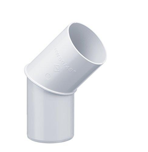 INEFA Rohrbogen, winkel für Fallrohr 45 Grad Weiß DN 75 - Kunststoff, Fallrohrbogen, Winkel für Regenfallrorhr, Rohr Fallrohr - Verbinder, Zubehör, Rohrverbinder Regenrinnen