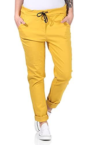 MATY FASHION Damen Hose Stretch Sweatpants Jogginghose für Freizeit Boyfriend Baggyhose 41 (Gelb)