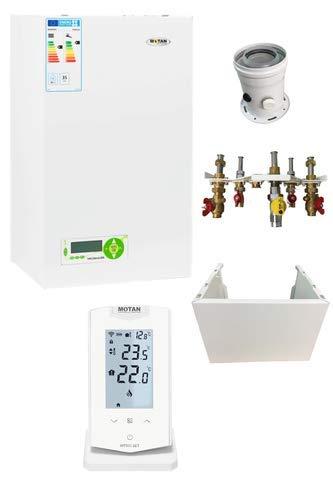 Komplettset Brennwerttherme 35 kW Kombitherme Brennwert Therme Gasheizung