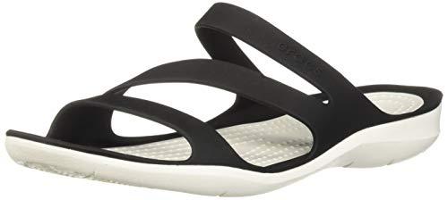 Crocs Damen Swiftwater D Sandalen, Black/White, 37/38 EU