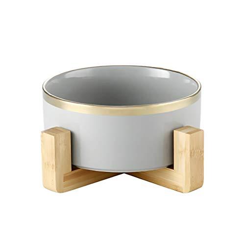 HCHLQLZ GrayPhnomPenh Keramik Hundenapf Futternapf Fressnapf Napf für Hund Katzen mit Massivholz Ständer(16cmx7cm)