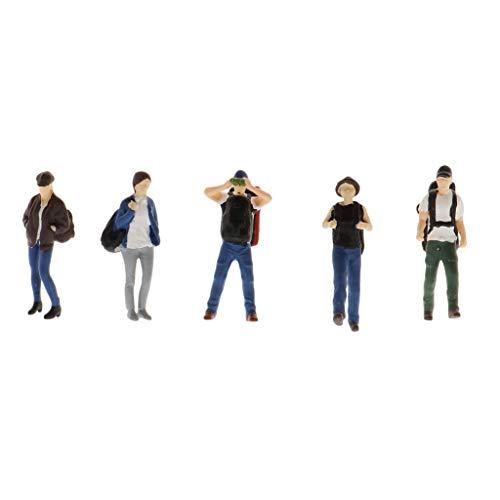 F Fityle Wanderer 1: 64, 5 Figuren, Bergwanderer mit Rucksack für Modellbau und Miniatur-Puppenhaus Dekoration - A