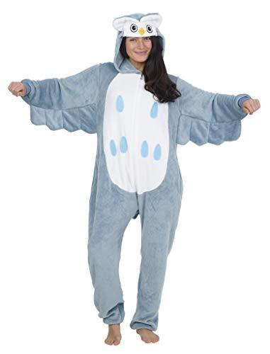 CityComfort Pyjama Onesie Für Damen Lang Tier Cosplay Kostüme aus Fleece Damen Einhorn Schlafanzug Jumpsuit Overalls Onesie Kostüm Fasching Karneval Kostüm Für Erwachsene (S, Eule)