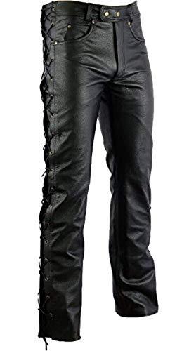 Motorrad Lederhose Seitlich Geschnürt, Schwarz, (30)