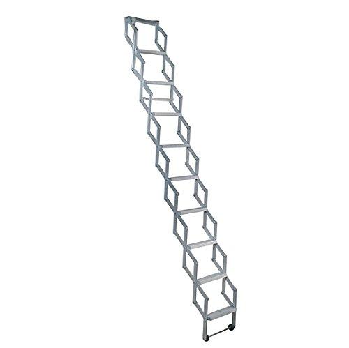 Alufix 10-tread Ziehharmonika Loft Leitern–Ideal für Tiny Dachboden Räume | einfach DIY Passform | Aluminium | Boden zu Decke 2,46m-2.73m (8.1ft-9.0ft)