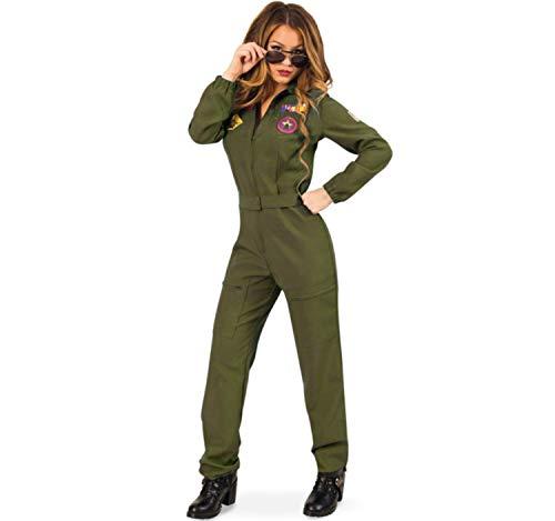 Kostüm Kampfpilotin Gr. 38 Jumpsuit grün Fasching Uniform Pilotin Militär