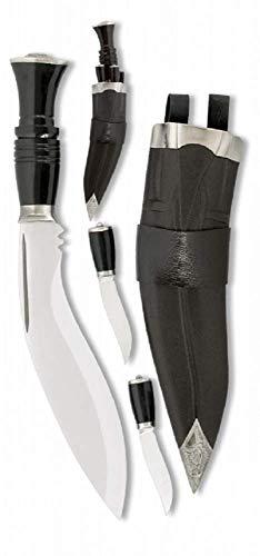 VIKING GEAR Kukri Messer-Set 2 kleine Dolche mit 1 großen Messer Ink. Holster in schwarz - Jagdmesser - gebogenes Messer Silber schwarz