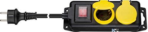 Kab24® Steckdosenleiste Gartensteckdose Mehfachsteckdose TÜV geprüft Strom Verlängerung IP44 spritzwassergeschützt mit Deckel und Schalter Wandmontage möglich (2-fach mit 5m Kabel)