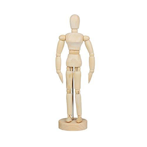 MOPOIN Gliederpuppe, 30cm Modellpuppe mit Ständer, Hölzerne Mannequins, Zeichenpuppe Verstellbare Gliederpuppen aus Holz, Flexible Modellpuppe, Modellfigur für Schreibtisch-Dekoration Malen Zeichnen