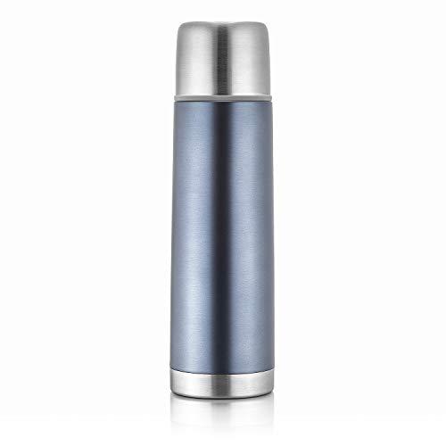 reer Edelstahl Isolier-Flasche COLOUR, 450ml – klein, handlich, ideal fürs Baby, mit integriertem Becher, anthrazit