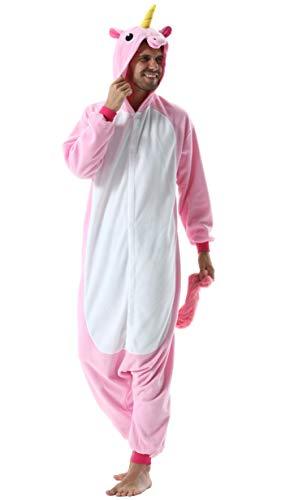 Jumpsuit Onesie Tier Karton Kigurumi Fasching Halloween Kostüm Lounge Sleepsuit Cosplay Overall Pyjama Schlafanzug Erwachsene Unisex Rosa Einhorn for Höhe 140-187CM Damen Herren