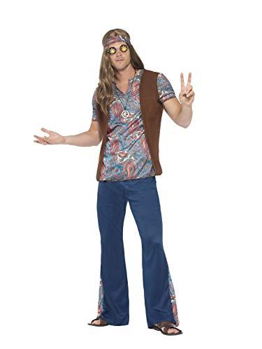 Smiffys 45517L - Herren Hippie Kostüm, Oberteil, Hose, Kopftuch und Medaillon Größe: L, blau