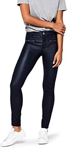 Amazon-Marke: find. Damen Skinny Fit-Hose mit Ledereffekt, Schwarz (Black), 36, Label: S