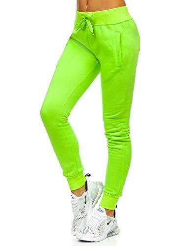 BOLF Damen Jogginghose Sporthose Freizeithose Trainingshose Sweathose Yogahose Sweatpants Baumwolle Hose Fitness Workout Basic Elastic J.Style CK-01 Grun-Neon XL [F6F]