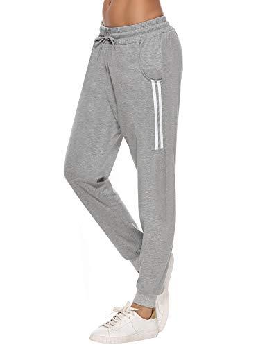 Sykooria Damen Jogginghose Sporthose Lang Yoga Hosen Freizeithose Laufhosen Baumwolle High Waist Trainingshose für Frauen mit Streifen-Streifen B-grau-L