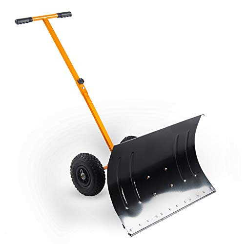 Kapler Rollender Schneeschieber 73,7 x 48,2 cm, große Schneeschaufel mit Rädern für Auffahrt, Handschieber und Schneeräumer