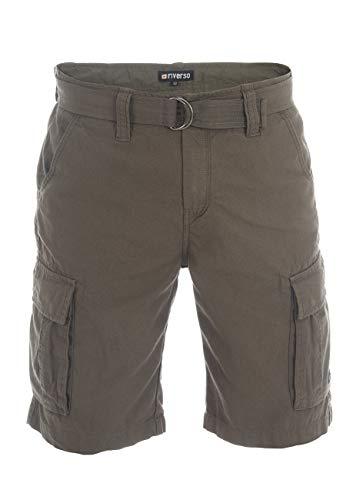 riverso Herren Cargo Shorts RIVFynn Kurze Hose Vintage Bermuda Gürtel 100% Baumwolle S - 7XL, Größe:3XL, Farbe:Olive (61)