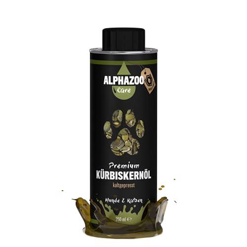 alphazoo Kürbiskernöl Futteröl für Hunde & Katzen, Premium Öl kaltgepresst für Verdauung, reich an Vitaminen & Mineralstoffen, Zusatz fürs Barf-Futter, recyclebare Weißblechdose ohne BPA
