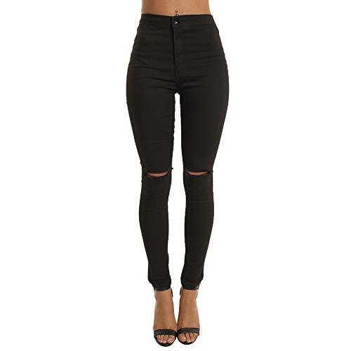 Ansenesna Hose Damen High Waist Stretch Skinny Elegant Freizeithosen Frauen Slim Fit Elastische Hosen (S, Schwarz Löcher)