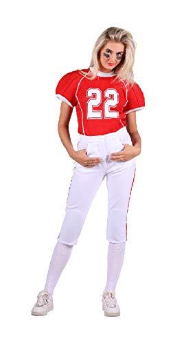 narrenkiste T2734-0502-XL rot-weiß Damen Football Trikot Rugby Kostüm Gr.XL