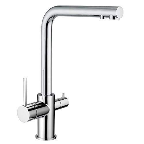 3-Wege-NIEDERDRUCKARMATUR Hugo L-Auslauf Chrom für kaltes, heißes und gefiltertes Wasser. Eine Elegante und stillvolle Ergänzung für Ihren Wasserfilter Küchenarmatur Dreiwege Niederdruck Wasserhahn