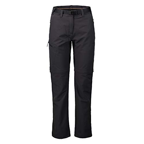 ICEPEAK Zip Off Outdoorhose Damen Wasserabweisend Blocton, Farbe:Schwarz, Damen Größen:40