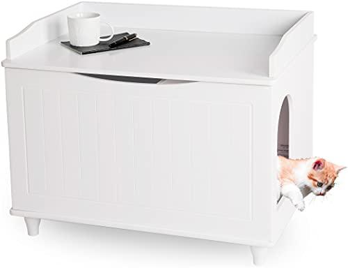 WONDERMAKE Katzenschrank für Katzentoilette groß aus Holz, Katzenklo-Schrank Kommode XL, Design Katzen-Haus Toilette Klo Waschbecken-Unterschrank für Bad, 73,5 x 51,5 x 57 cm, weiß