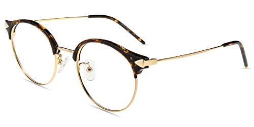 Firmoo Lesebrille mit Blaulichtfilter für Damen Herren, Anti Blaulicht Computerbrille mit Sehstärke, Runde Lesehilfe Sehhilfe Brille Blendfrei Kratzfest, Rahmenbreite 133mm-Mittel (Leopard-Gold, 1.5x)