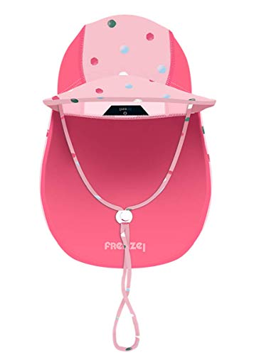 Foruhoo Baby Mütze UV-Schutz 50 mit Kordelzug for Jungen, Breite Krempe Sommerhut Sonnenhut (53cm / 3-6 Jahre, Punkte)