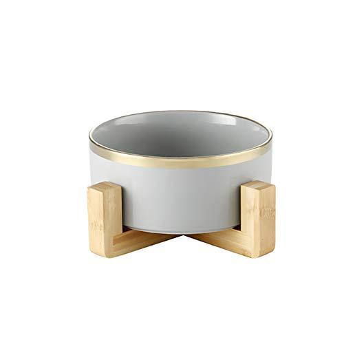 HCHLQLZ GrayPhnomPenh Keramik Hundenapf Futternapf Fressnapf Napf für Hund Katzen mit Massivholz Ständer(13cmx5cm)