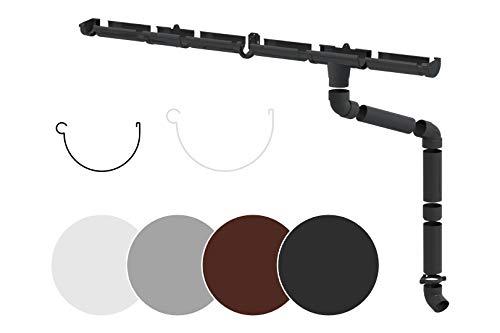 RAINWAY S Regenrinnen Komplettset (1 Dachseite) - PVC-U Kunststoff in 4 Farben, für Dachflächen < 100m² empfohlen (Set min. 4 Meter, anthrazit) Regenrinnen PVC Plastik