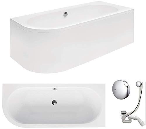 VBChome Badewanne 180x80 cm Acryl SET Schürze Siphon Wanne Ecke Eckbadewanne Weiß Design Modern Ablaufgarnitur in Chrom Viega Simplex für 2 Personen rechts
