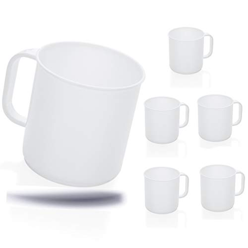 Kerafactum 6 Set Trinkbecher Becher Tasse mit Henkel Kaffeebecher für Camping Kantine   ideal Picknick Bootsausrüstung Zelt Caravaning   Spülmaschinenfest Stapelbar 0,3 Ltr. Coffee Mug color white