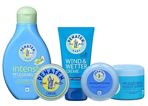 Penaten Körperpflegeset, bestehend aus:Pflegemilch 400ml,Creme 150ml,Wundschutzcreme 200ml,Gesicht+Körper 100ml,Wind+Wetter 75ml