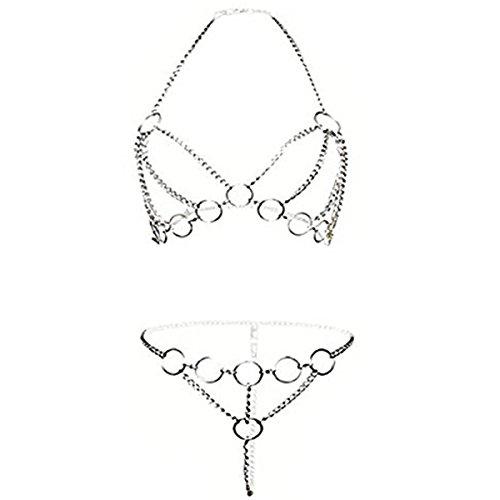 ADESUGATA Sexy Dessous Set,Damen-Bodysuit,Aushöhlen Spaß Unterwäsche, Offenen Schritt Perspektive Geschirr Iron Chain Versuchung Nachtwäsche Tassel Babydoll Pyjamas