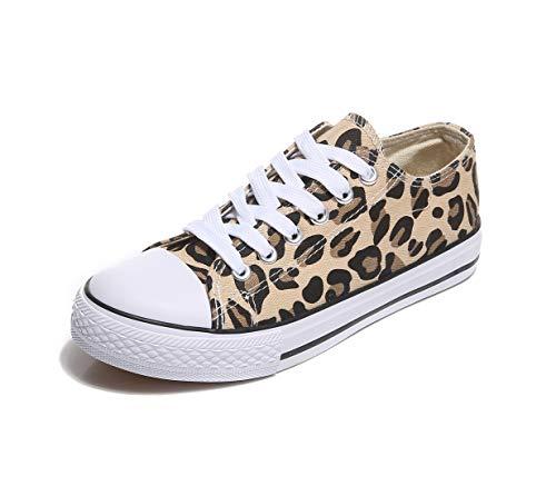 Frentree Unisex Damen Herren Sneaker Low Bequeme Leinenschuhe (bei größerem Fuss eine Nummer größer nehmen als Vorschlag), Farbe:Leopard, Größe:39