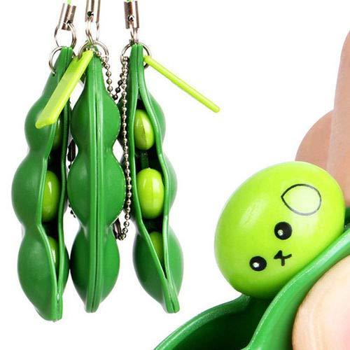 Drücken eine Bohne, Anti Stress Spielzeug Sensory Fidget Toys, 3 Stück Böhnchen Anhänger Sojabohne Schlüsselanhänger Kinder und Adluts Zappeln Spielzeug für Schlüssel Anti-Stress Entlastende