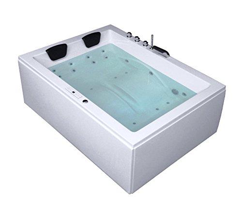 Whirlpool Badewanne Rechteck - Sylt Premium 2 Personen Made in Germany Whirlwanne Indoor NEU inkl. Armatur (190x140x66 cm)