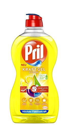 Pril 5 Plus Kraftgel Zitrone, Handgeschirrspülmittel, 450 ml, mit selbstaktiver Fettlösekraft