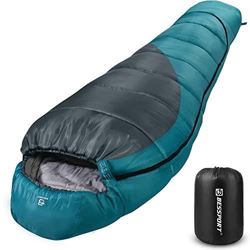 Bessport Schlafsack Winter   -9°C und 0℃ Outdoor Mumienschlafsack für Camping und Bergsteigen mit Ultraleichter und Ultrakompakter 100% Sprüh Gebundene Baumwolle 400g/m² Füllung